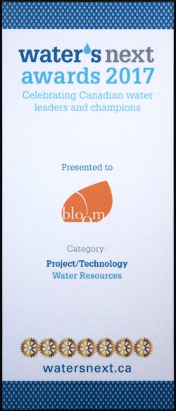 BLOOM Water's Next Award 2017